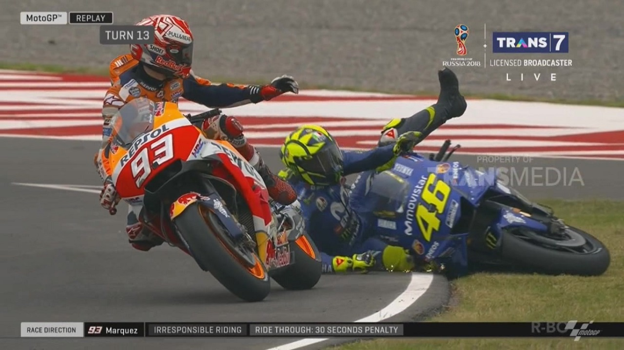 Clash marc marquez vs valentino rossi motogp argentina 8 april 2018 marc menyesal