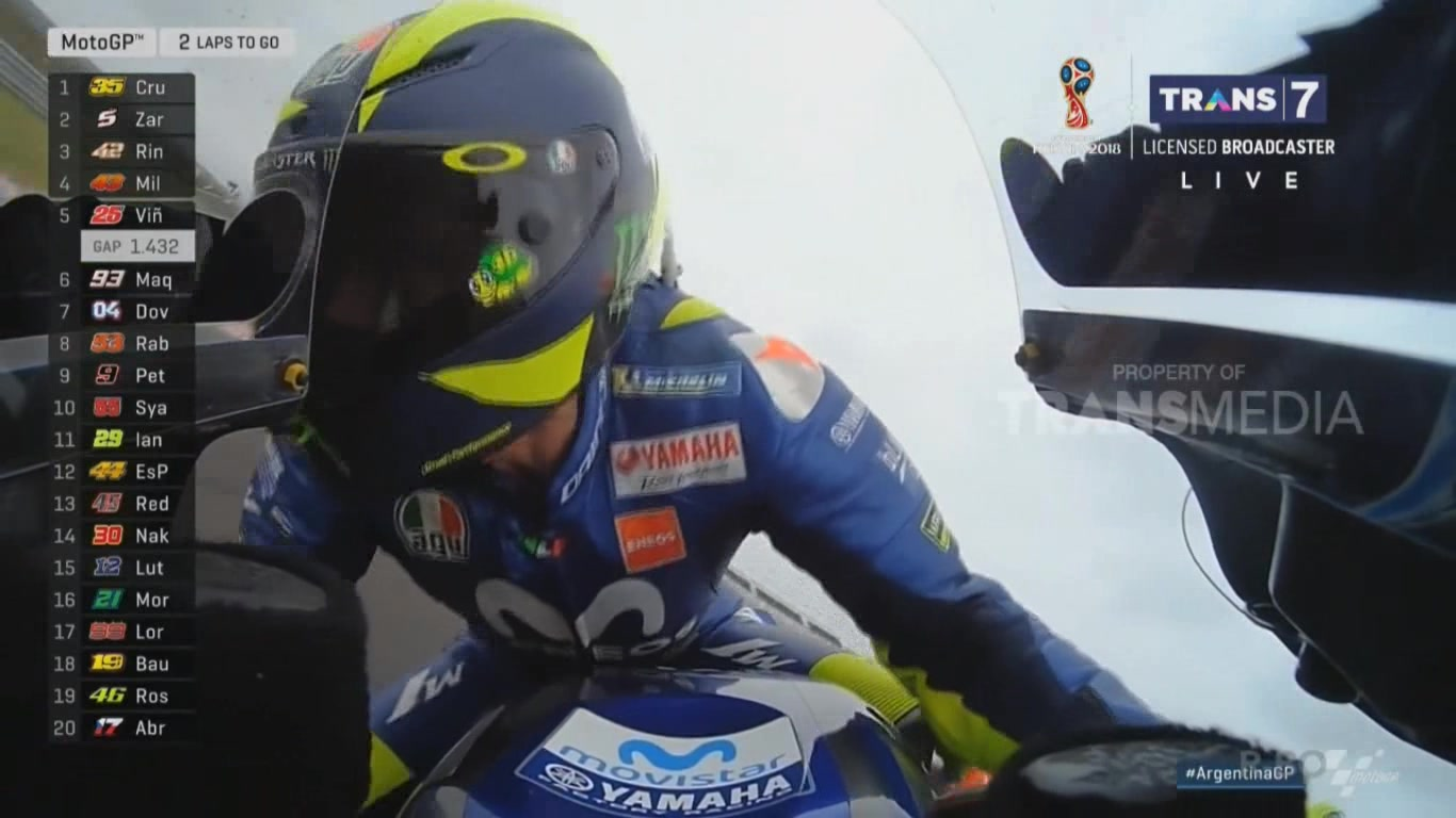 Rossi lanjut balap sampai finish after crash