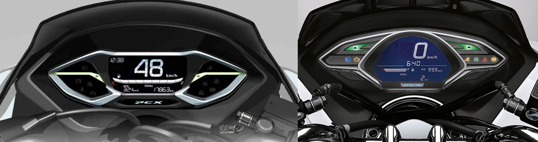 Honda PCX160 2021 vs PCX150 dashboard